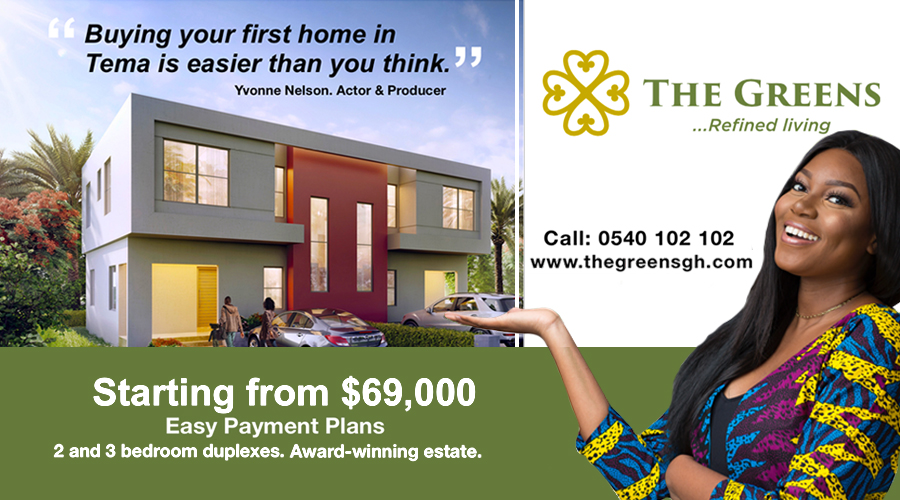 2- and 3-bedroom duplexes starting from $69,000 on easy payment plans from The Greens. Call 0540 102 102