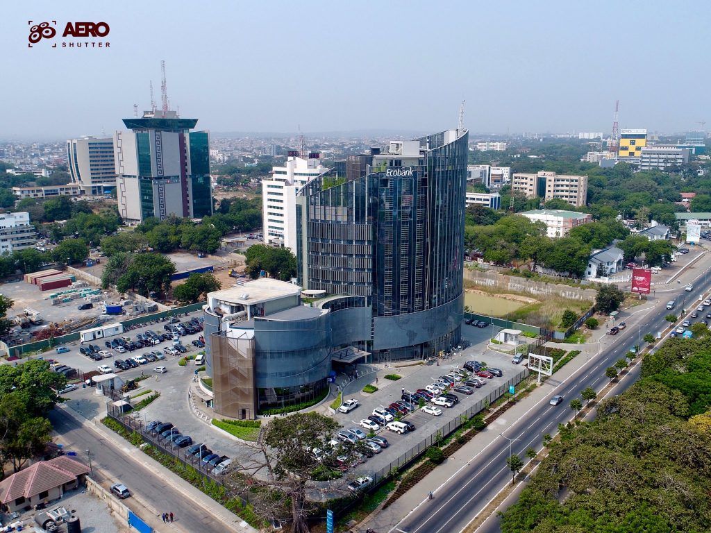 Aerial shot of the new Ecobank HQ by Aero Shutter.