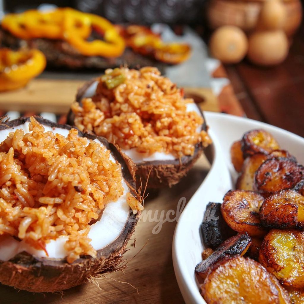 Jollof rice and fried plantains a delicacy in Ghana