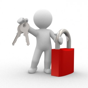 3d human with key and locker in hands. Safety from robbers.