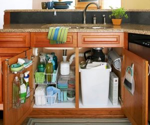 organised kitchen.sink cabinets