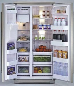 organised kitchen. refrigerator