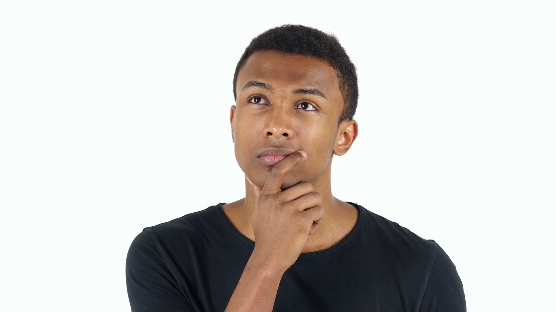 young black man pensively thinking about whether or not to move out